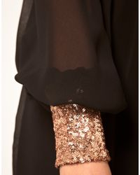 ASOS Collection | Black Wrap Dress with Sequin Cuff | Lyst