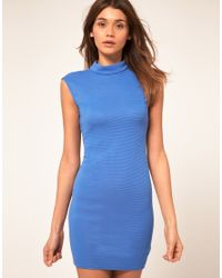 ASOS Collection | Blue Asos Mini Dress in Rib with Cut Out Back | Lyst