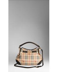 Burberry - Natural Medium Haymarket Hobo Bag - Lyst