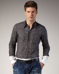 Dolce & Gabbana | Black Plaid-print Colorblock Woven Shirt for Men | Lyst