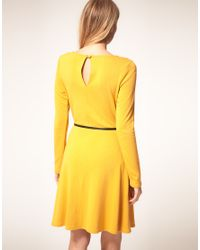Oasis - Yellow Fit N Flare Dress  - Lyst