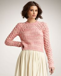 See By Chloé | Pink Jacquard Flower Sweater | Lyst