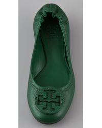 Tory Burch - Green Reva Tonal Logo Flats - Lyst
