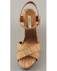 Twelfth Street Cynthia Vincent - Natural Naomi Wedge with Crossfront Detail - Lyst