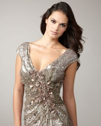 Alberto Makali - Brown Floral-embellished Sequined Gown - Lyst