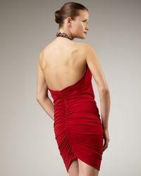 Alberto Makali - Red Jewel-Neck Halter Dress - Lyst