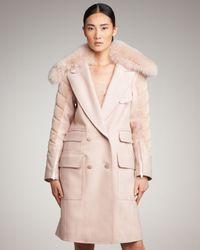 Alexander Wang Pink Hybrid Car Coat with Detachable Fox Fur Collar