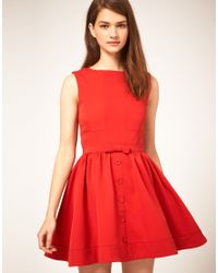 ASOS Collection | Red Asos Skater Dress with Bow Front | Lyst