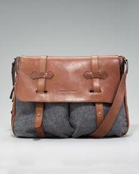 Brunello Cucinelli | Brown Bison-flannel Messenger Bag for Men | Lyst