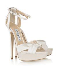 Jimmy Choo | White Fairy Satin Platform Sandals | Lyst