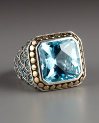 John Hardy | Blue Naga Square Topaz Ring | Lyst