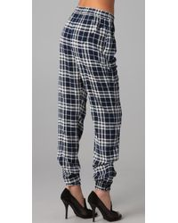 JOSEPH | Blue Staten Drawstring Plaid Pants | Lyst