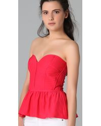 Parker   Red Strapless Bustier Top   Lyst