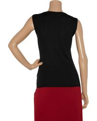 Calvin Klein | Black Reed Silk and Cashmere-blend Top | Lyst