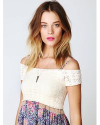 Free People | White Crochet Seamless Crop Top | Lyst
