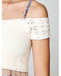 Free People - White Crochet Seamless Crop Top - Lyst
