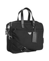 Prada | Black Nylon Laptop Travel Bag for Men | Lyst