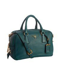 Prada | Blue Teal Pebbled Deerskin Convertible Bauletto Bag | Lyst