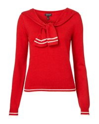 TOPSHOP | Red Knitted Sailor Tie Top | Lyst