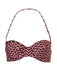 TOPSHOP | Red Wavy Stripe Bikini Top | Lyst
