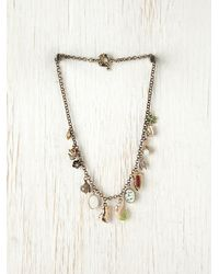 Free People | Metallic Mixed Charm Necklace | Lyst