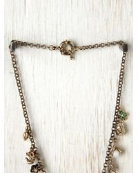 Free People - Metallic Mixed Charm Necklace - Lyst