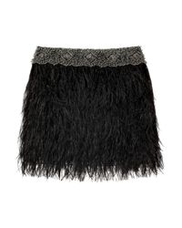 Adam Lippes | Black Ostrich Feather Bead Embellished Mini Skirt | Lyst