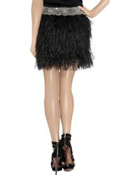 Adam Lippes - Black Ostrich Feather Bead Embellished Mini Skirt - Lyst