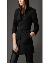 Burberry | Black Leather Martingale Trench Coat | Lyst