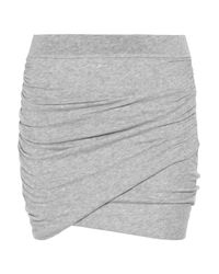 James Perse | Gray Ruched Stretch Cotton-jersey Mini Skirt | Lyst