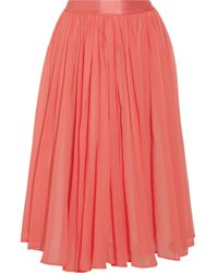 See By Chloé - Pink Cotton and Silk-blend Georgette Midi Skirt - Lyst