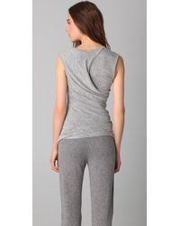 T By Alexander Wang - Gray Marled Drape Top - Lyst