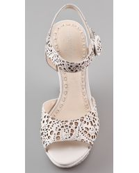Alice + Olivia | Natural Jana Laser Cut Wedge Sandals | Lyst