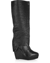 Elizabeth and James - Black Scuff Textured-leather Knee Boots - Lyst