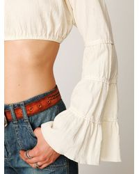 Free People | White Bell Sleeve Crop Top | Lyst