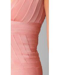 Hervé Léger - Pink Novelty Essentials V Neck Dress - Lyst