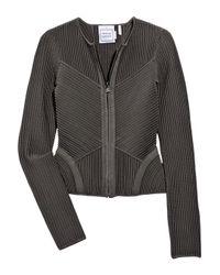 Hervé Léger | Gray Ribbed Bandage Jacket | Lyst