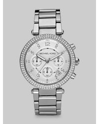 Michael Kors | Metallic Crystal Chronograph Bracelet Watch/silver | Lyst