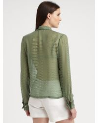 Raoul - Green Sheer Silk Striped Blouse - Lyst