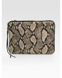 Rebecca Minkoff - Natural Faux Snake-Print Leather Laptop Case - Lyst