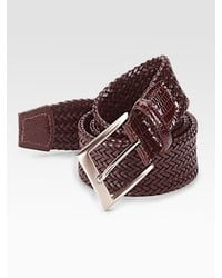 Saks Fifth Avenue | Brown Woven Leather Belt for Men | Lyst