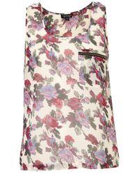 TOPSHOP | Natural Trellis Rose Zip Pocket Vest | Lyst