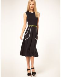 ASOS Collection   Natural Midi Dress with Belt and Pleat Detail   Lyst