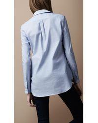 Burberry Brit | Blue Textured Cotton Shirt | Lyst