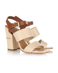 Chloé - Brown Two-Tone Leather Sandals - Lyst