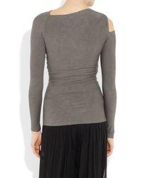Donna Karan | Gray Twisted Stretch-jersey Top | Lyst