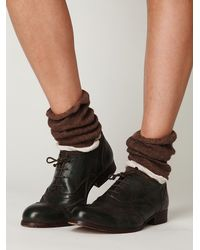 Free People | Brown Double Ruffle Slouch Sock | Lyst