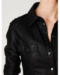 Free People - Black Vegan Leather Buttondown - Lyst