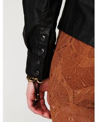 Free People | Black Vegan Leather Buttondown | Lyst