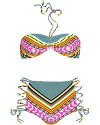 Mara Hoffman | Multicolor High Waisted Lace Up Bikini | Lyst